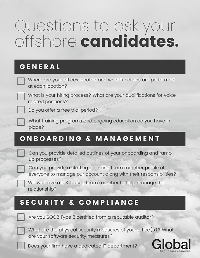 Questions to ask your offshore candidates.